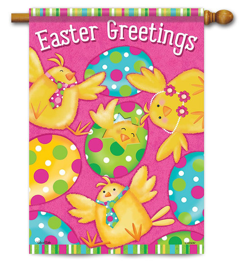 "Easter Greetings Chicks House Flag - 28"" x 40"" - 2 Sided Message"