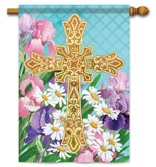 "Easter Flowers Cross House Flag - 28"" x 40"" - 2 Sided Message"