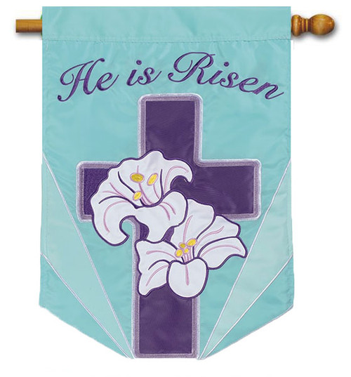 "Lily Cross Applique Easter House Flag - 28"" x 40"" - 2 Sided Message"