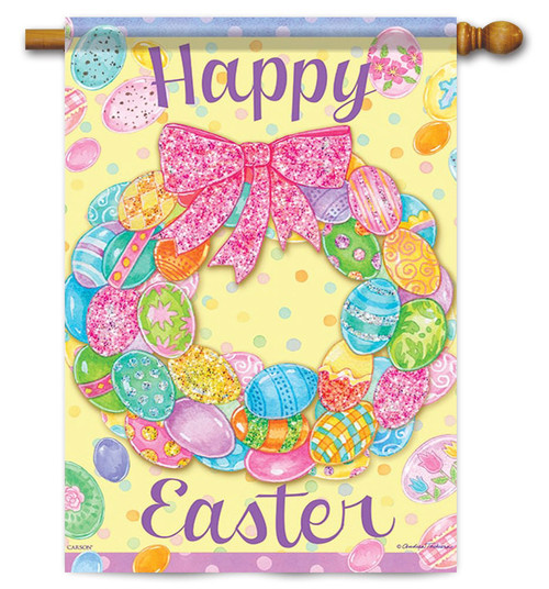 "Egg Wreath Easter House Flag - 28"" x 40"" - 2 Sided Message"