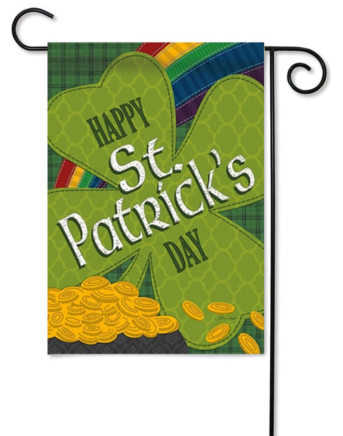 "Gold Coins St. Patrick's Day Garden Flag - 12.5"" x 18"" - 2 Sided Message"