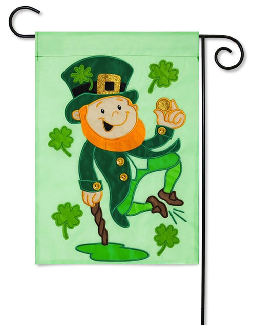 "Heel Clicking Leprechaun Applique Garden Flag - 12.5"" x 18"""