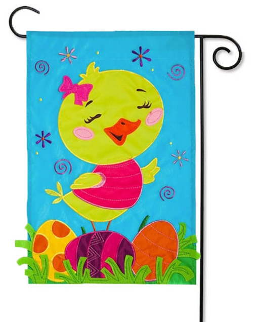 "Chick with Bow Applique Garden Flag - 12.5"" x 18"""