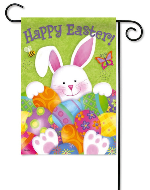 "Bunny with Easter Eggs Garden Flag - 12.5"" x 18"" - 2 Sided Message"