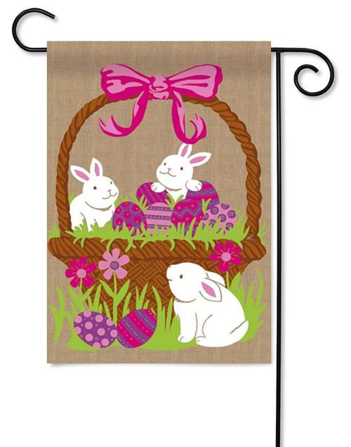 Three Bunnies in Easter Egg Basket Burlap Garden Flag