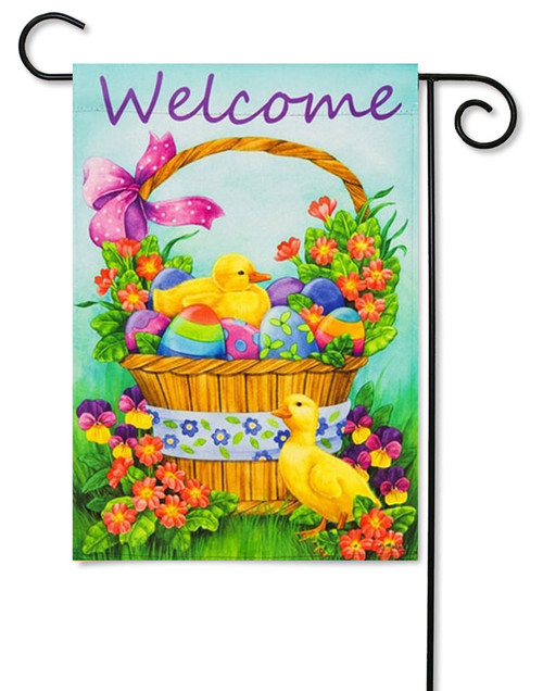 "Duckling Basket Decorative Easter Garden Flag - 12.5"" x 18"" - 2 Sided Message"