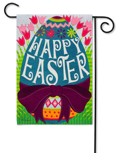 "Happy Easter Egg Decorative Garden Flag - 12.5"" x 18"" - 2 Sided Message"