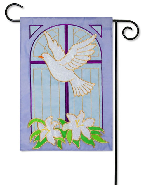 "Dove on Cross Applique Easter Garden Flag - 12.5"" x 18"""