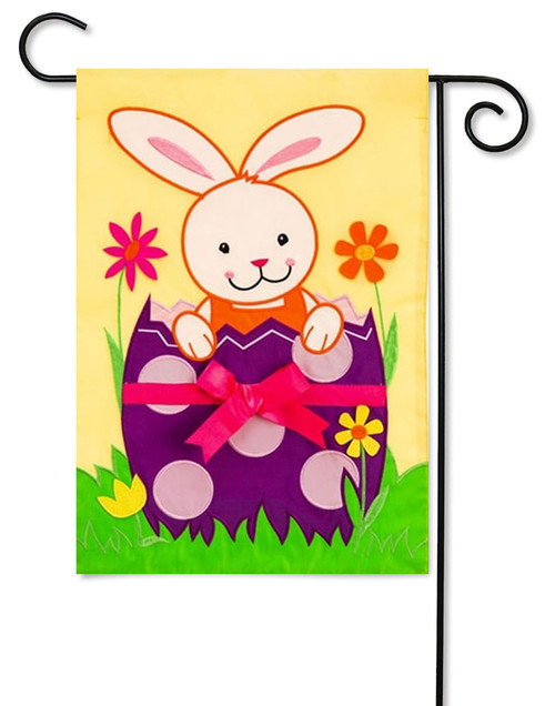 "Bunny Hatch Applique Easter Garden Flag - 12.5"" x 18"""