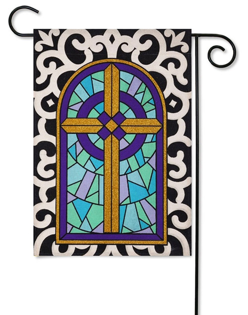 "Cross with Scroll Border Burlap Garden Flag - 12.5"" x 18"""
