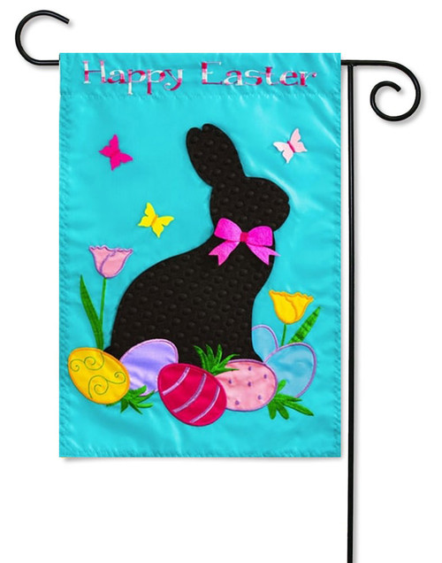 "Easter Rabbit Applique Garden Flag - 12.5"" x 18"" - 2 Sided Message"