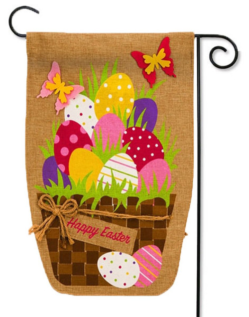 "Easter Egg Basket Burlap Garden Flag - 12.5"" x 18"" - 2 Sided Message"