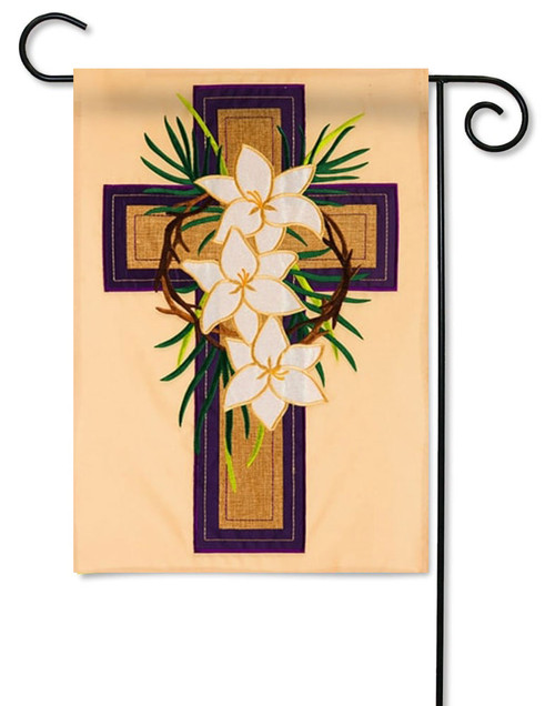 "Easter Cross Applique Garden Flag - 12.5"" x 18"" - Evergreen"