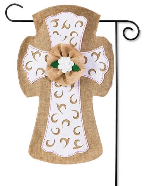 "Easter Cross Burlap Garden Flag - 12.5"" x 18"""