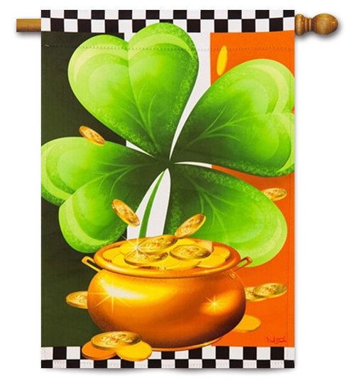 "Shamrock St. Patrick's Day House Flag - 29"" x 43"""