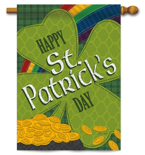 """Gold Coins St. Patrick's Day House Flag - 29"""" x  43"""" - 2 Sided Message"""