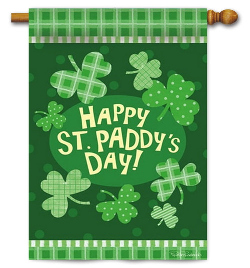 "Paddy's Party Decorative House Flag - 29"" x 43"" - 2 Sided Message"
