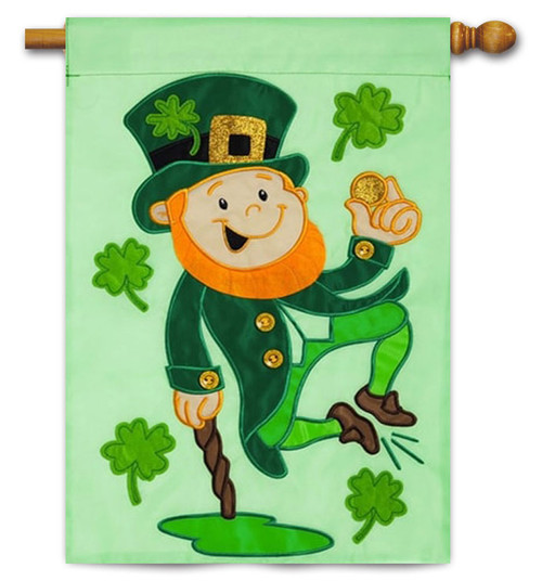 "Heel Clicking Leprechaun Applique House Flag - 28"" x 44"""