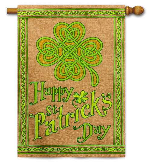 "Happy St. Patrick's Day Burlap House Flag - 28"" x 44"" - 2 Sided Message"