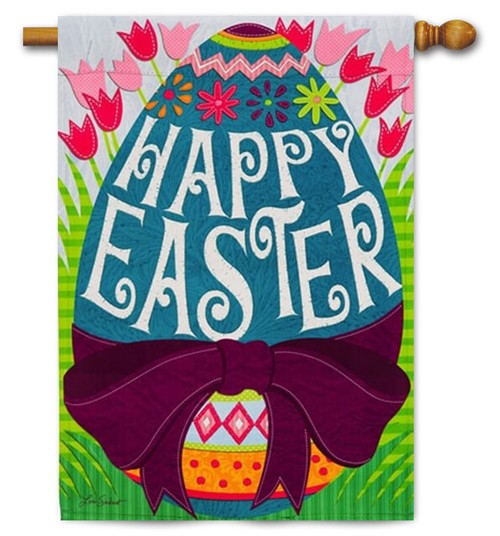 "Happy Easter Egg Decorative House Flag - 29"" x 43"" - 2 Sided Message"