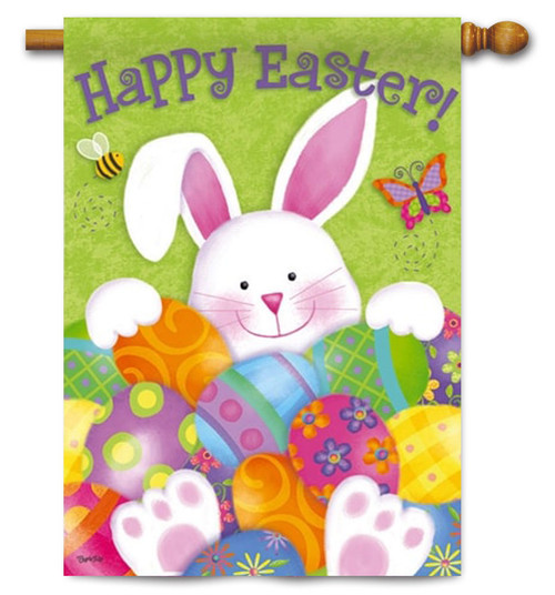 "Bunny with Easter Eggs Decorative House Flag - 29"" x 43"" - 2 Sided Message"