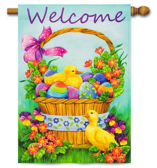"Duckling Basket Decorative House Flag - 29"" x 43"" -2 Sided Message"