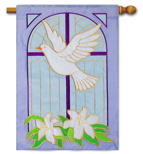 "Dove on Cross Applique House Flag - 28"" x 44"""