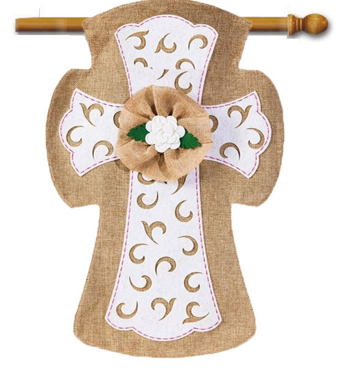"Easter Cross Burlap House Flag - 28"" x 44"""