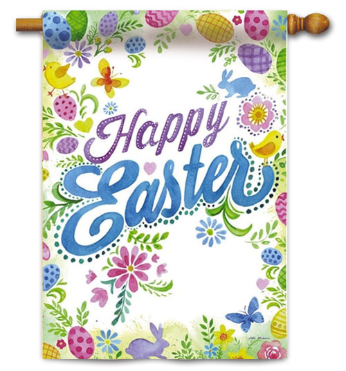 "Happy Easter Decorative House Flag - 29"" x 43"" - 2 Sided Message"