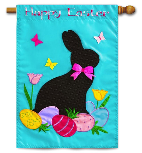 "Easter Rabbit Applique House Flag - 28"" x 44"" - 2 Sided Message"
