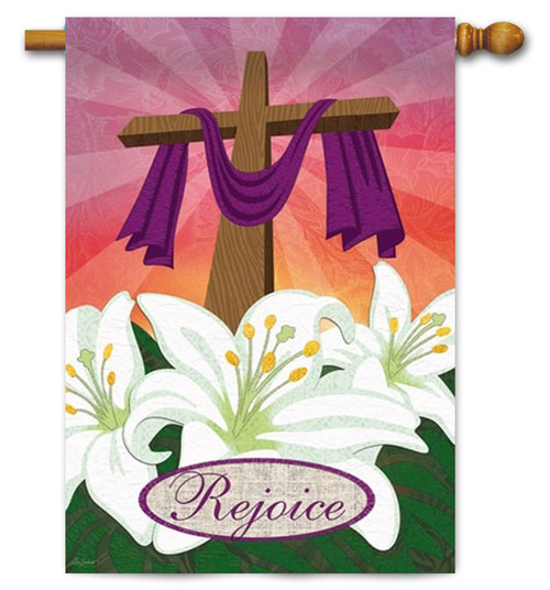 "Rejoice Decorative Easter House Flag - 29"" x 43"" - 2 Sided Message"