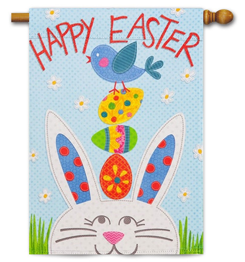 "Happy Easter Bunny Decorative House Flag - 29"" x 43"" - 2 Sided Message"