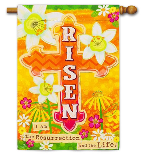 "Risen Decorative Easter House Flag - 29"" x 43"" - 2 Sided Message"
