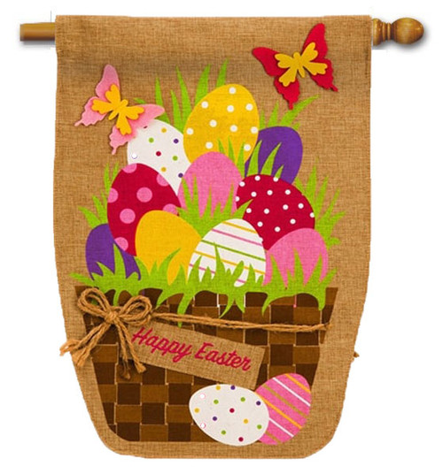 "Easter Egg Basket Burlap House Flag - 28"" x 44"" - 2 Sided Message"