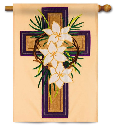 "Easter Cross Applique House Flag - 28"" x 44"""