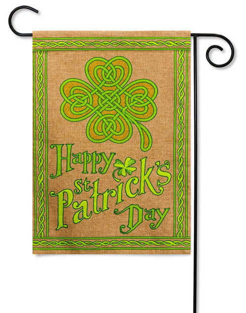 "Happy St. Patrick's Day Burlap Garden Flag - 12.5"" x 18"" - Evergreen"