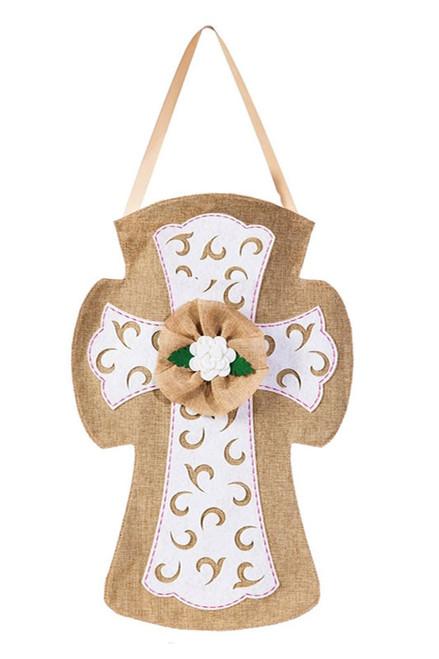 """Easter Cross Burlap Door Decor -13"""" x 22"""" - Evergreen Door Hanger"""