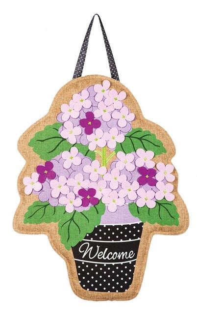 """Hydrangea Garden Burlap Door Decor - 15"""" x 20""""  - Evergreen Door Hanger"""