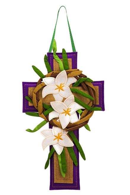Easter Cross & Lily Burlap Door Decor