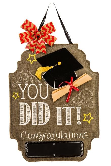 """Graduation Felt Door Decor - 16"""" x 21""""  - Evergreen Door Hanger"""