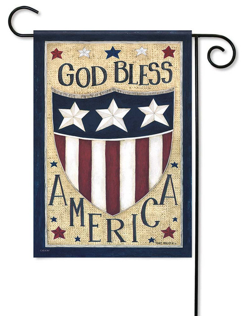 "God Bless America Garden Flag - 12.5"" x 18"" - Flag Trends - 2 Sided Message"