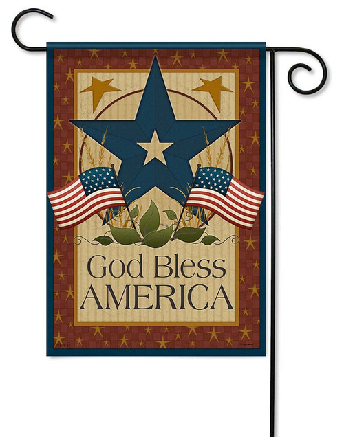 "God Bless Barn Star Garden Flag - 12.5"" x 18"" - Flag Trends - 2 Sided Message"