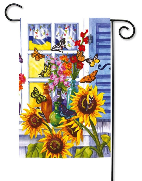 "Butterfly Window Garden Flag - 12.5"" x 18"" - Evergreen"