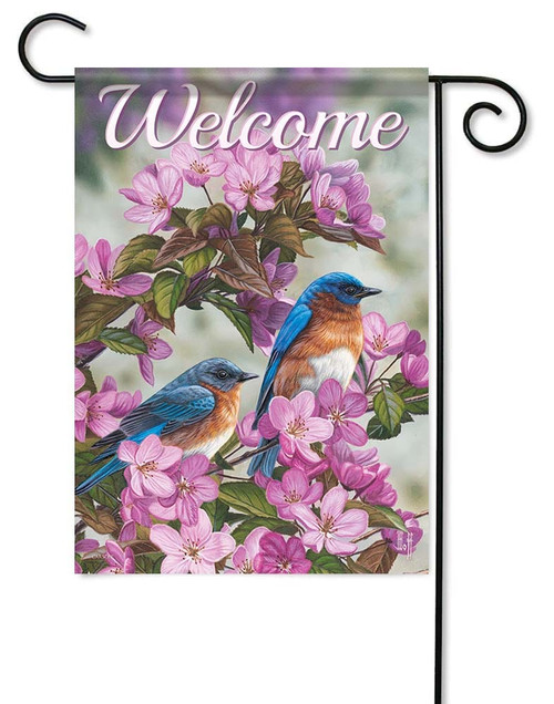"Birds In Blue Garden Flag - 12.5"" x 18"" - Flag Trends - 2 Sided Message"
