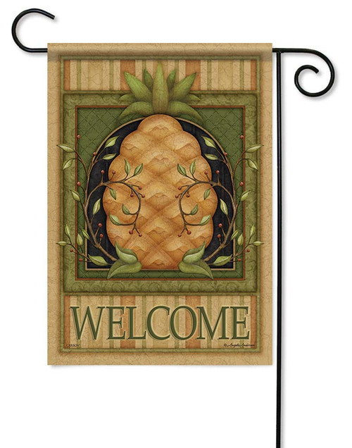 "Pinstripe Pineapple Garden Flag - 12.5"" x 18"" - Flag Trends - 2 Sided Message"