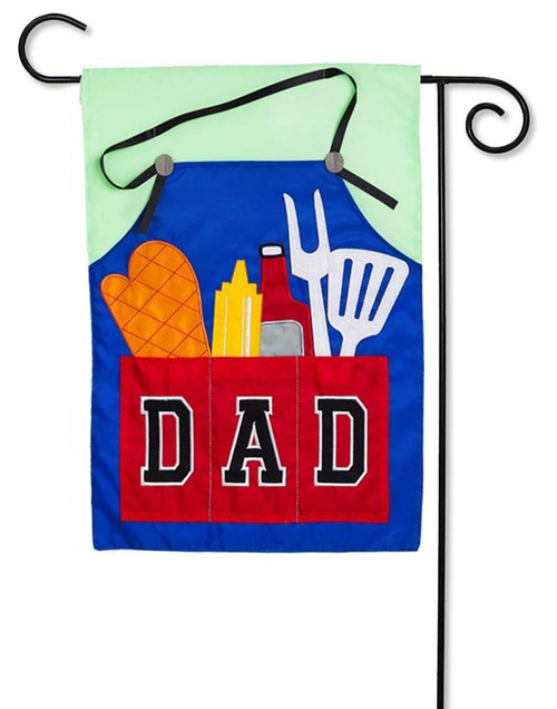 "Dad's Grill Tools Applique Garden Flag - 12.5"" x 18"" - 2 Sided Message - Evergreen"