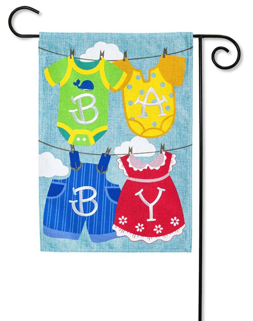 "Baby Clothesline Burlap Garden Flag - 12.5"" x 18"" - 2 Sided Message - Evergreen"