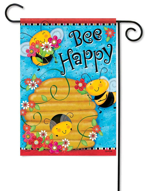 "Busy Buzzin' Garden Flag - 12.5"" x 18"" - Flag Trends - 2 Sided Message"