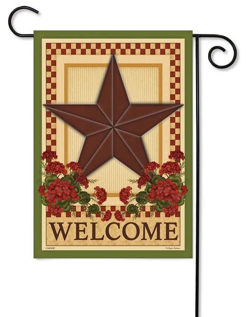"Barn Star Geraniums Garden Flag - 12.5"" x 18"" - Flag Trends - 2 Sided Message"