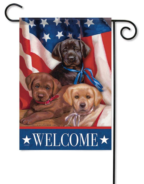 "Patriotic Puppies Garden Flag - 12.5"" x 18"" - Flag Trends - 2 Sided Message"